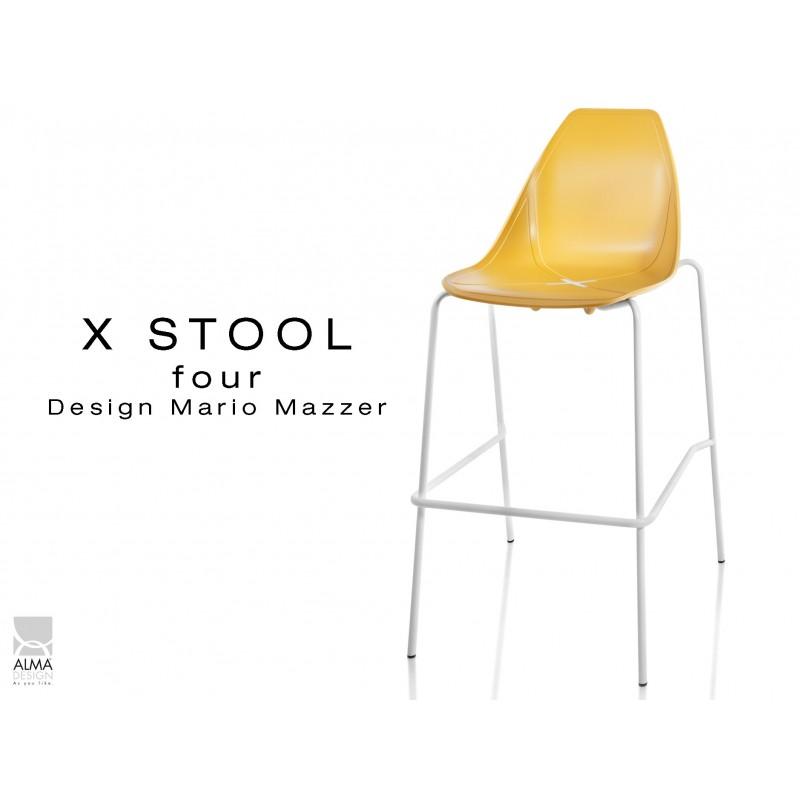 X-STOOL Four 75 - piétement blanc assise coque jaune - lot de 2 tabourets