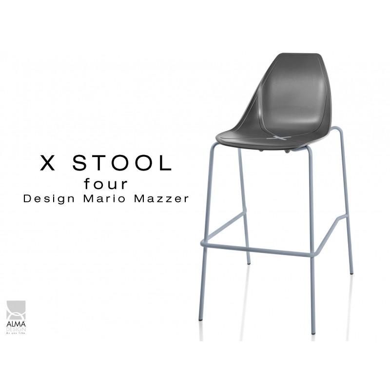 X-STOOL Four 75 - piétement gris aluminium assise coque noir - lot de 2 tabourets