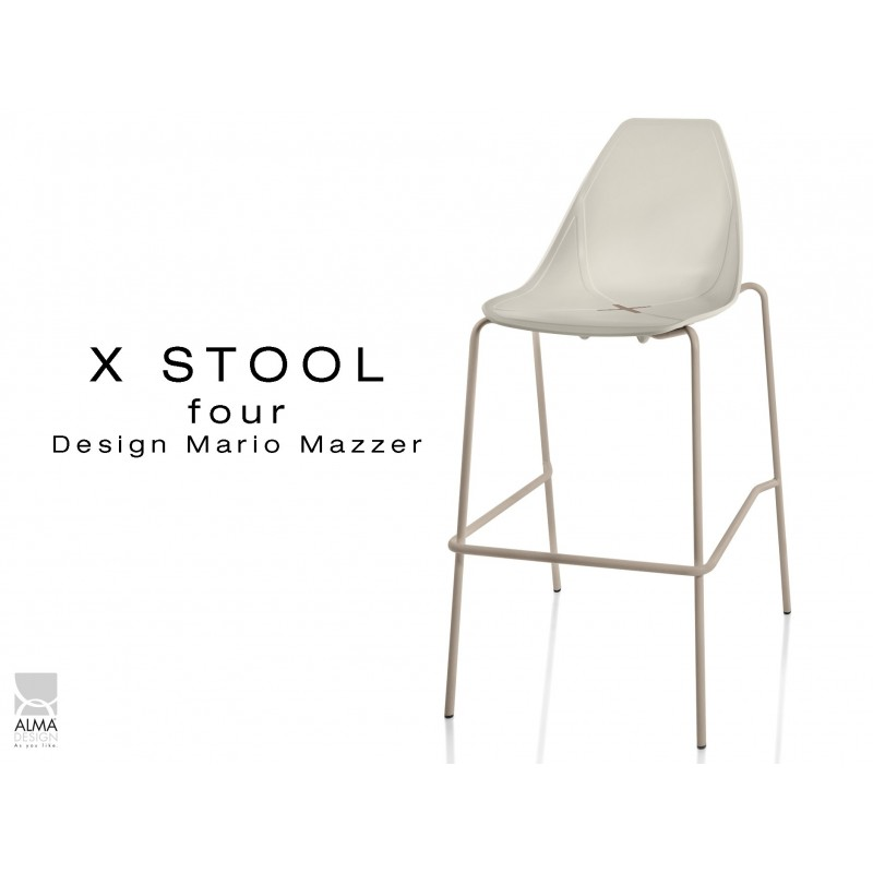 X-STOOL Four 75 - piétement sable assise coque sable clair - lot de 2 tabourets