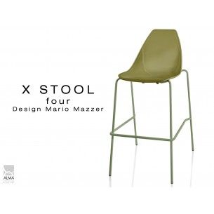X-STOOL Four 75 - piétement vert militaire assise coque vert militaire - lot de 2 tabourets
