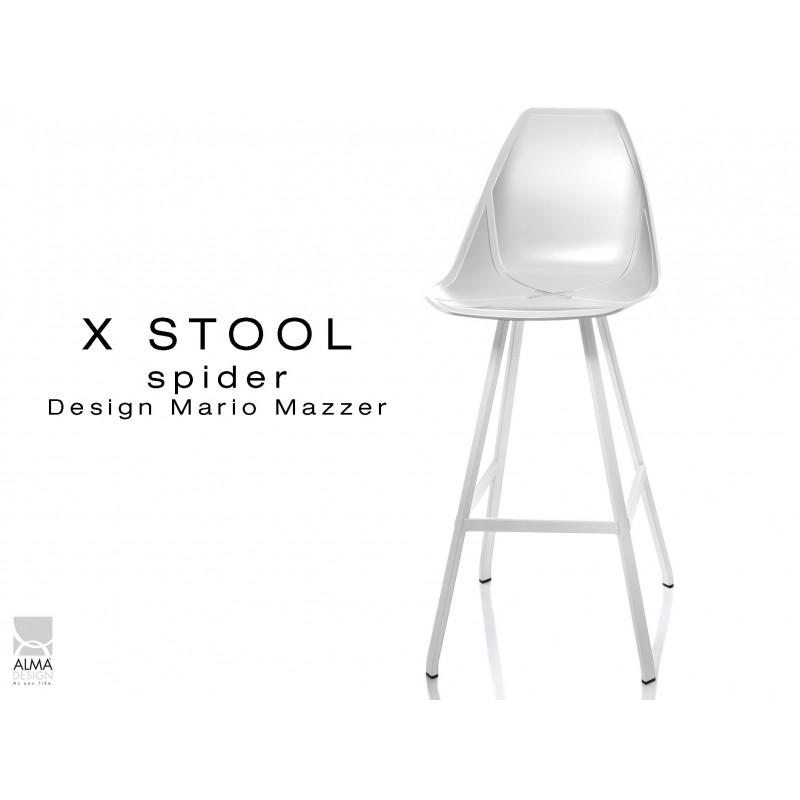 X STOOL Spider 75 - piétement acier blanc assise coque blanche - lot de 2 tabourets