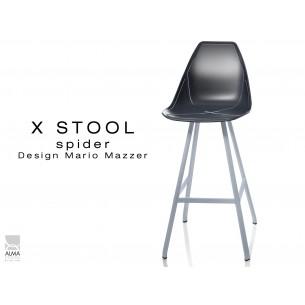 X STOOL Spider 75 - piétement acier gris aluminium assise coque noir - lot de 2 tabourets