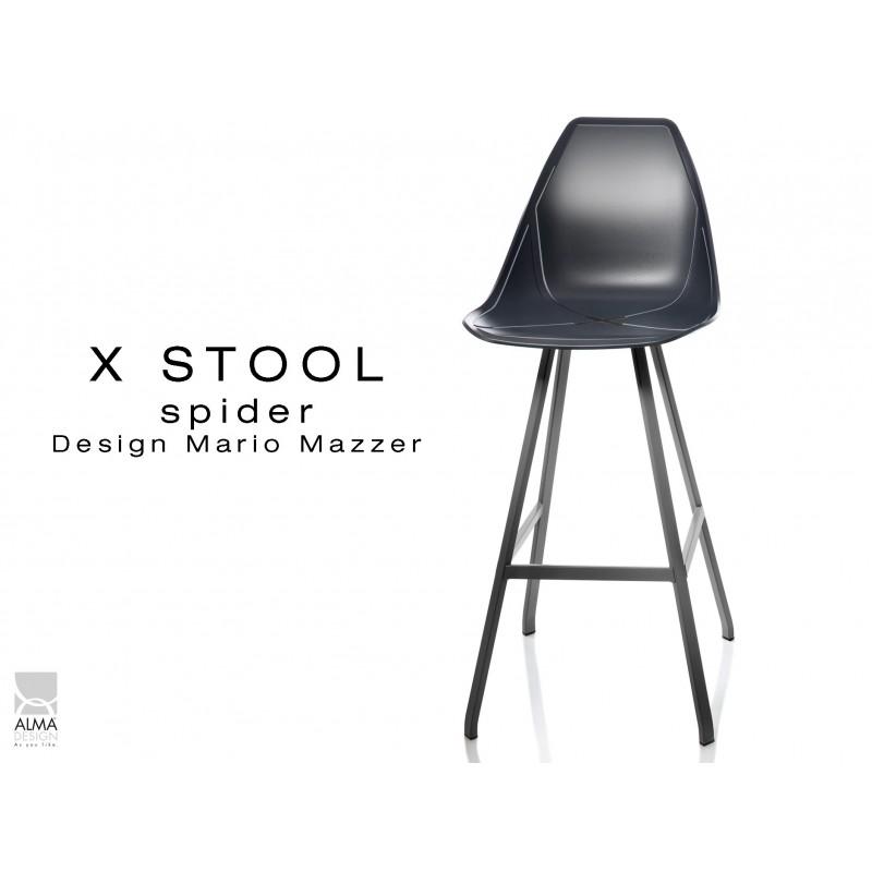 X STOOL Spider 75 - piétement acier noir assise coque noir - lot de 2 tabourets