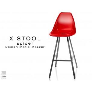 X STOOL Spider 75 - piétement acier noir assise coque rouge - lot de 2 tabourets