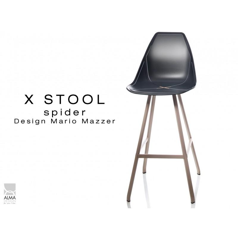 X STOOL Spider 75 - piétement acier sable foncé assise coque noir - lot de 2 tabourets