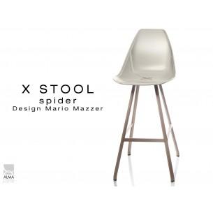 X STOOL Spider 75 - piétement acier sable foncé assise coque sable clair - lot de 2 tabourets