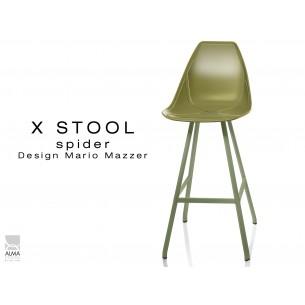 X STOOL Spider 75 - piétement acier vert militaire foncé assise coque vert militaire - lot de 2 tabourets