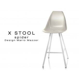 X STOOL Spider 69 - piétement acier blanc assise coque sable - lot de 2 tabourets