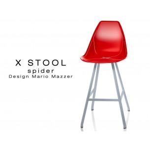X STOOL Spider 69 - piétement acier gris aluminium assise coque rouge- lot de 2 tabourets