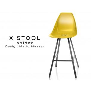X STOOL Spider 69 - piétement acier noir assise coque jaune - lot de 2 tabourets