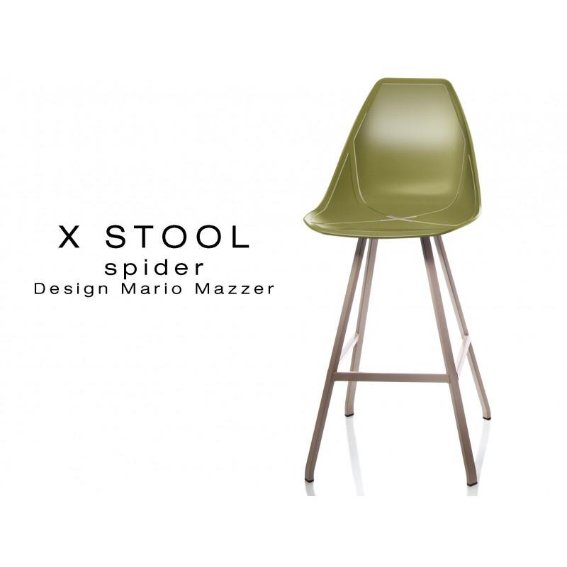 X STOOL Spider 69 - piétement acier sable foncé assise coque vert militaire - lot de 2 tabourets