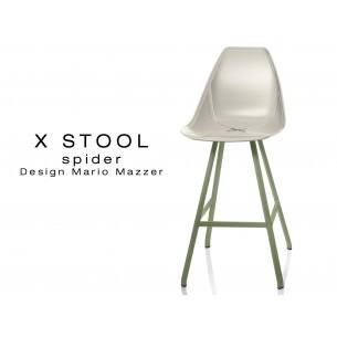 X STOOL Spider 69 - piétement acier vert militaire assise coque sable clair - lot de 2 tabourets