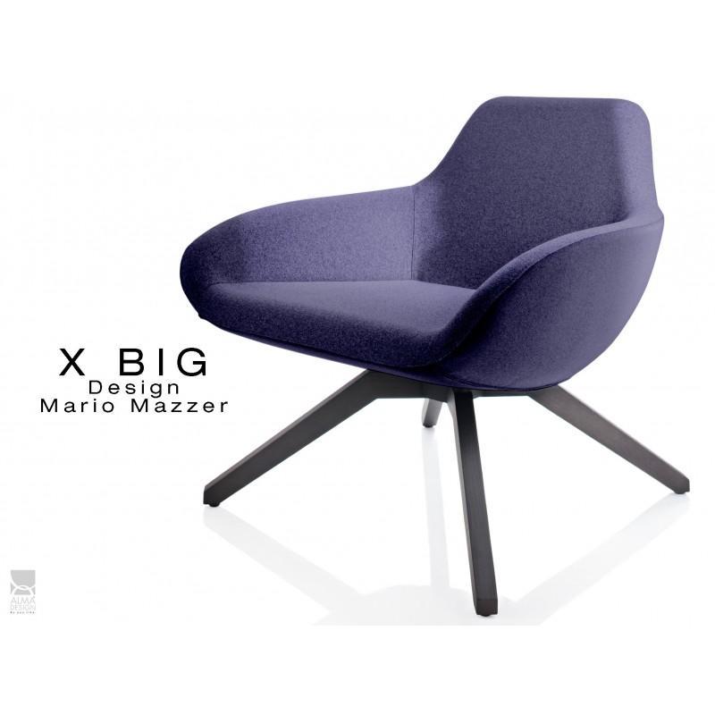 """X BIG fauteuil lounge design piétement en bois de Frêne vernis gris-fer, assise rembourrée habillage tissu """"Melange""""- TE28"""