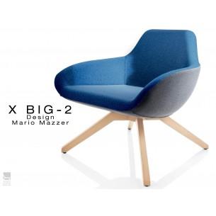 X BIG-2 fauteuil lounge design piétement vernis naturel, dos gris foncé, assise TE27