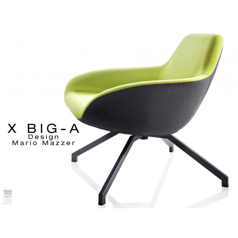 """X BIG-A fauteuil lounge design piétement acier, habillage dos tissu """"Trevia"""" noir TE138 - assise TE139."""