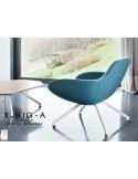 """X BIG-A fauteuil lounge design piétement en acier, assise rembourrée habillage tissu """"velours""""."""