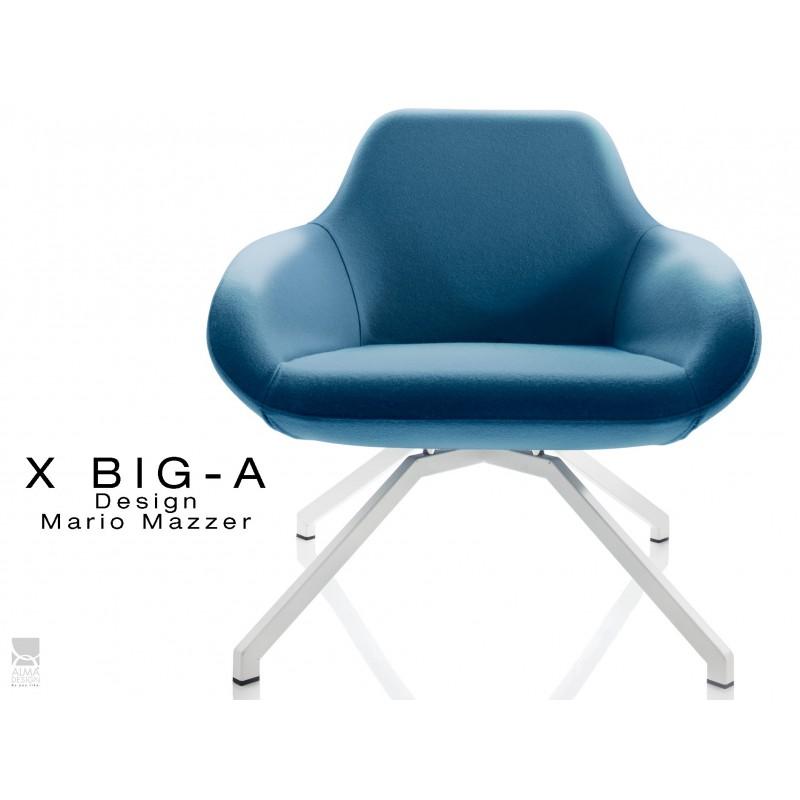 """X BIG-A fauteuil lounge design piétement blanc, habillage """"Laine type feutre""""- TE169"""