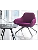 """X BIG-A fauteuil lounge design piétement en acier, assise rembourrée habillage tissu """"Laine type feutre""""."""