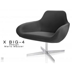 """X BIG-4 fauteuil piétement étoile chromé, assise habillage tissu """"Crep"""" - TE06"""