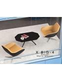 """X BIG-4 fauteuil lounge design piétement étoile chromé, assise rembourrée habillage tissu """"Crep"""""""