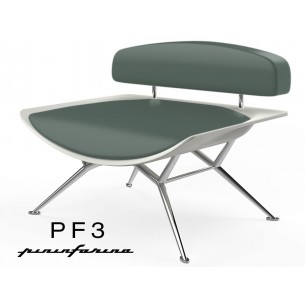 Fauteuil PF3 Pininfarina coque blanche, cuir Ecoleather 666 vert sapin.