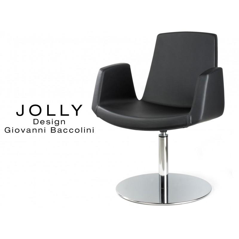 Fauteuil JOLLY piétement inox et habillage éco-cuir 663 noir.