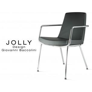 Fauteuil JOLLY-4 piétement acier chromé et habillage éco-cuir 663 noir.