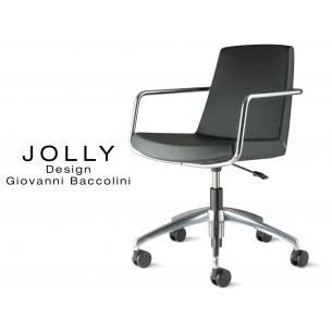Fauteuil JOLLY roulette base aluminium et habillage éco-cuir 663 noir.