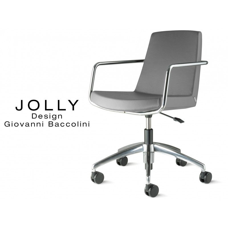 Fauteuil JOLLY roulette base aluminium et habillage éco-cuir 669 gris.