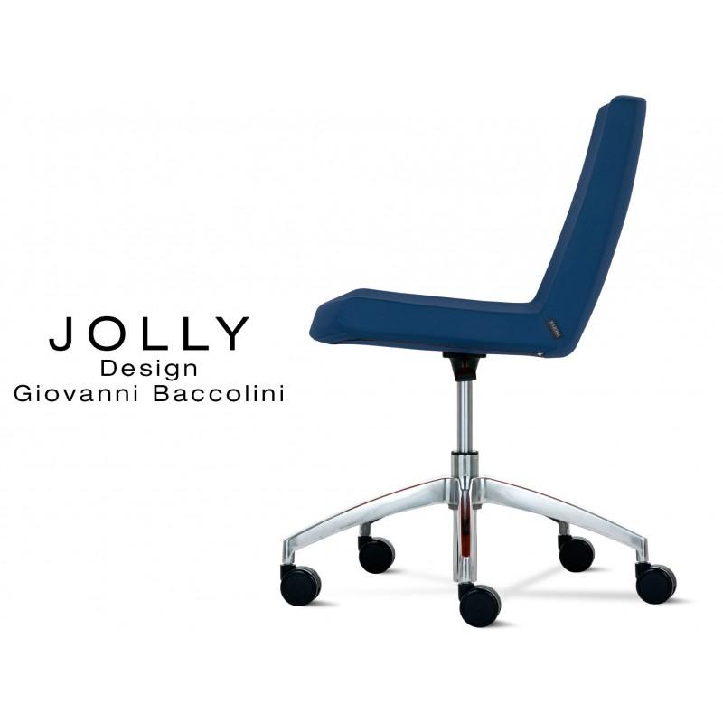 JOLLY Chaise Roulette Base Aluminium Et Habillage Tissu Trevi U