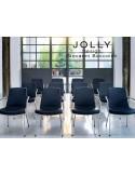 JOLLY chaise 4 pieds, piétement acier chromé et habillage Eco-cuir.