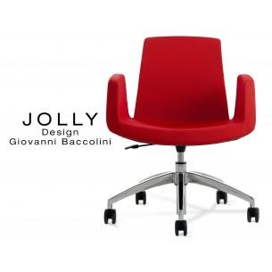 Fauteuil JOLLY roulette base aluminium et habillage tissu Trevi-U 556 rouge.