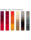 Fauteuil JOLLY roulette base aluminium, habillage tissu au choix sur demande.