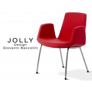 Fauteuil JOLLY-4 piétement acier chromé, habillage tissu Trevi-U 556 rouge.