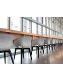 UNI-KA chaise coque couleur piétement bois Hêtre teinté Wengé