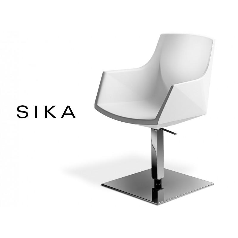 SIZA fauteuil coque design pivotante avec élévation assise couleur blanche.