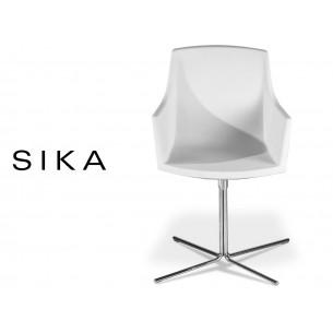 SIZA-X fauteuil design assise coque effet preau de pêche couleur blanche.