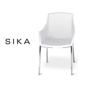 SIZA-Q fauteuil design assise coque effet peau de pêche assise de couleur blanche.