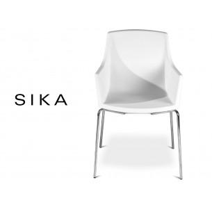 SIZA-R fauteuil design assise coque effet peau de pêche assise blanche.