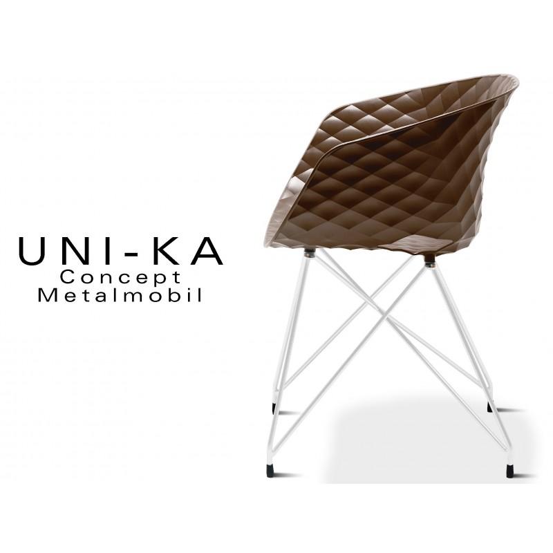 UNI-KA piétement blanc assise coque couleur moka.