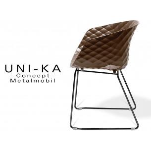UNI-KA piétement luge noir assise coque couleur moka.
