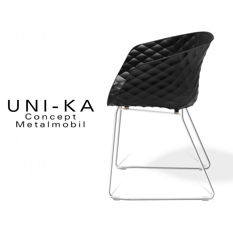 UNI-KA piétement luge blanc assise coque couleur noire.