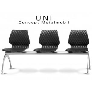 UNI banc design 3 places pour salle d'attente couleur noire.