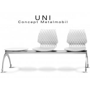 UNI banc design 2 places avec tablette pour salle d'attente, couleur blanche.