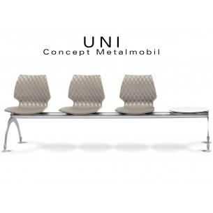 UNI banc design 3 places pour salle d'attente avec plateau, assise couleur gris tourterelle.