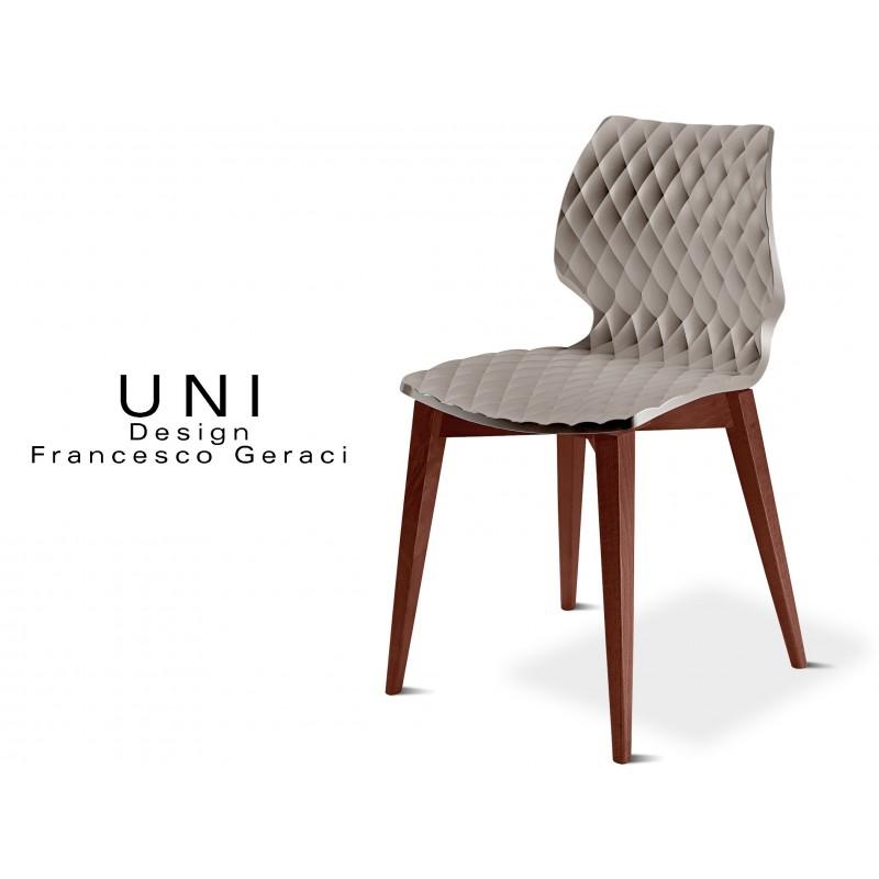 UNI chaise design couleur piétement bois teinté Noyer, assise couleur gris tourterelle.
