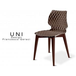UNI chaise design couleur piétement bois teinté Wengé, assise couleur moka.