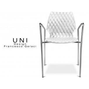 UNI fauteuil design piétement chromé assise coque couleur blanche.