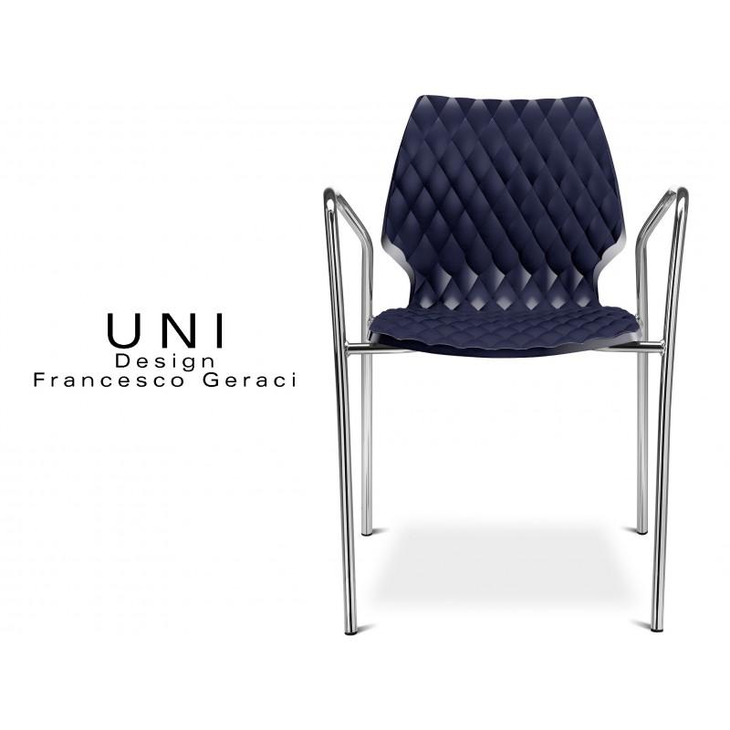 UNI fauteuil design piétement chromé assise coque couleur anthracite.
