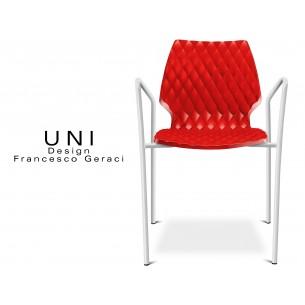 UNI fauteuil design piétement peinture blanche assise coque couleur rouge.